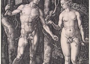"""Albert Direr, """"Adam i Eva"""", bakrorez, 16. stoljeće"""